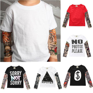 Novelty Tattoo Kids Long Sleeve T-Shirts Fashion Print Cotton Boys T Shirt Kids Girls Tops Children's Clothes 1-7 years
