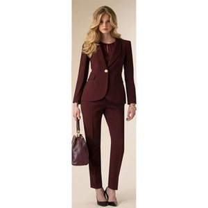Jacket+Pants Womens Business Suit Wine Red Female Office Uniform Ladies Formal Trouser 2 Piece Set Evening Prom Party Tuxedos