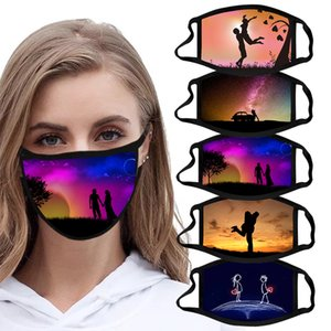 2021 Washable Cotton Face Mask Anti-dust Unisex Adults Valentines Printing Masks Reusable Mouth Cover Valentines Day Party Gifts Masks