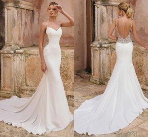 Sexy Backless Mermaid Wedding Dresses 2021 Spaghetti Straps Elegant Satin Lace Bridal Gowns Boho Garden Sweep Train robes de mariée AL8240