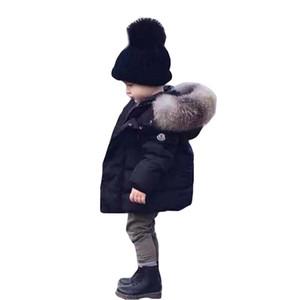 BOTEZAI Çocuk Kış Coat Big Kürk Yaka Aşağı Ceket Bebek Boys Kalınlaştırıcı Kapşonlu Ceketler Kar Giyim Çocuk Kabanlar Isınma