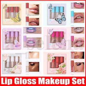 Teayason Flüssiger Lippenstift Kits 3 Farben Lipgloss Lidschatten Highlighter Blush Plumper Plumping Gloss Moisturizer 6 Styles