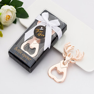50pcs lot Christmas gift deer head style gold color bottle opener Beer bottle openers with retail box