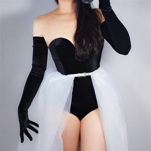 Velvet Gloves 70cm Extra Long Black Opera Female High Elastic Swan Velour Gold Velvet Touchscreen Women Evening Gloves WSR26 201021