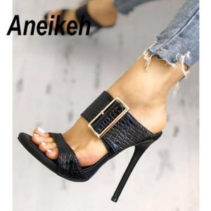 Aneikeh 2020 Moda Sexy Gladiator Verão PU Mulheres Sandálias Fino Salto Alto Sandálias Slip-On Opinted Toe vestido preto Tamanho 35-40