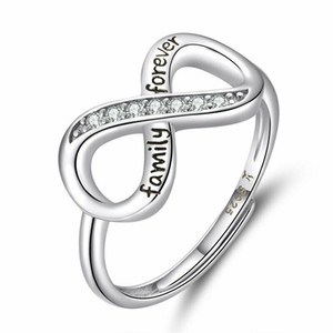 Unique Endless Love CZ Infinity Finger Ring Adjustable Women Girls 925 Sterling Silver