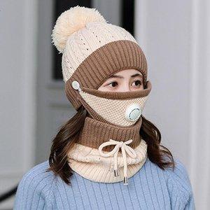 Femmes 3PCS / Set hiver Coton chaud en coton épais pour bonnet chapeaux Caps Caps masque Kits tricotés Bonnet Accessoires extérieurs Écharpe Bonne vza