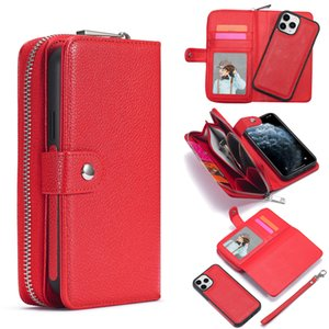 Detachable Zipper Leather Wallet Case For Samsung Galaxy S20 ultra S10 S10E S9 Plus Note 9 8 10 Pro 20 ultra Multifunction Case
