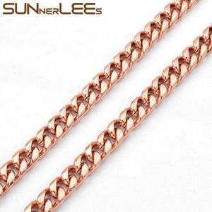 سلاسل Sunnerlees الأزياء والمجوهرات روز لون الذهب قلادة 6 ملليمتر كبح سلسلة الكوبي للرجال المرأة هدية C71 N