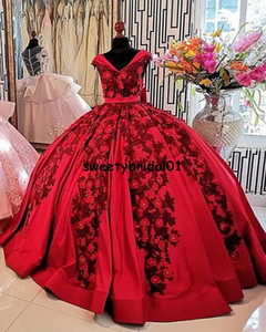Vestidos De XV Años Red Quinceanera Dress Real Images Applique Beaded Mexican Girls 15 Years Birthday Dress Prom Gown 2021