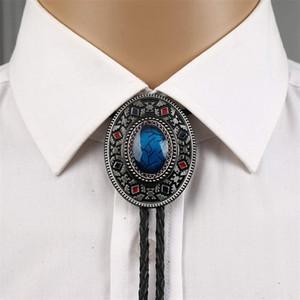 Handgemachte Südwesten Totem Aquamarine Western Cowboy Bolo Krawatte für Hemd Krawatte Krawatte Metall Halskette Schmuck 201028