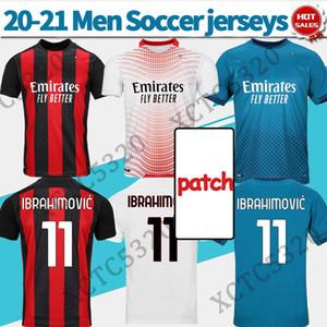 # 11 Ibrahimovic futebol jerseys home vermelho 2020/2021 terceiro azul # 10 calhanoglu # 13 romagnoli soccer shirts personalizado homens uniformes de futebol