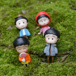4pcs 애니메이션 chibi 마루코 - 찬 인물 요정 정원 미니어처 수지 공예 테라 리움 인형 Baison Dollhouse 장식 소녀 장난감 DIY