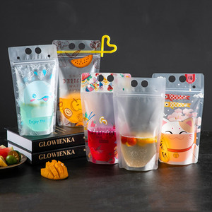 Transparent Self Seal Drink Bag With Straw Frosted Plastic Beverage DIY Drink Container Drink Bag Party Fruit Juice Drinks Pouch VT0437