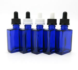 10 x 30ml bottiglia di contagocce quadrata di vetro blu, 30 cc Piccola bottiglia di olio cosmetica di bellezza con