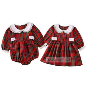 Toddler Kid Baby Girls Christmas Dress and rompers Xmas Party Princess plaid cotton costume hot sale