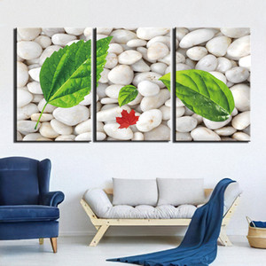 3 Pieces Wall Art Canvas Painting White Stone Prints And Posters Home Decor Artwork Still Life Wall Pictures For Living Room