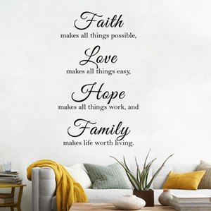 4 Sets Faith Makes All Things Possible Love Makes All Things Easy Hope Make All Things Work Family Makes Life Worth Wall Stickers