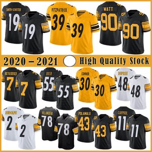 7 Ben Roethlisberger Football Jersey 90 T.J. Watt 19 Juju Smith-Schuster 11 Chase Claypool 48 Bud Dupree 30 James Conner Minkah Fitzpatrick