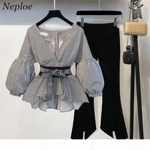 Neploe 2018 nova blusa listrada calças largas de perna definida com faixas de manga folhada de moda blusas + calças de flare 2 peças mulheres ternos 68191 d18110706