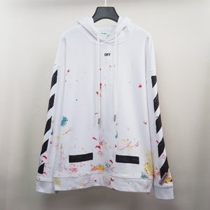 designer 2020 autumn and winter new trendy brand OW white firework arrow pullover hoodie sweater S-XL