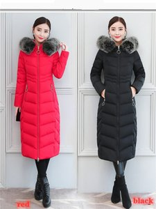 2019 New Style Real Fox Big Fur Collar Long Down Jacket Women Below-the-Knee Length Thick Thick Slim Fit Version