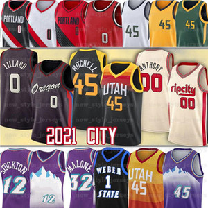 45 Donovan Jersey Mitchell 0 Damian 27 Rudy Lillard Malone 12 John Gobert Stockton Karl 32 Carmelo Anthony Basketball Jerseys