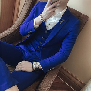 3pc Brand New Mens Suit Jacket Formal Business Blazer Men Groom Three Pieces Slim Fit Party Clothing Single Button Wedding Dress T200324