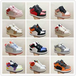 أحذية جرين باين الأحمر أوريو متعدد الألوان كرة السلة أحذية الأطفال J 1S الأصفر كرة السلة أحذية الرضع كبيرة بوي فتاة UNC إلى شيكاغو حذاء رياضة