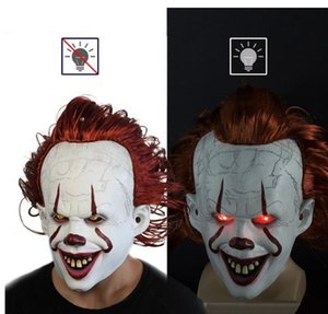 Movie Stephen King's It 2 Cosplay Pennywise Clown Joker Mask Tim Curry Mask Cosplay Halloween Party Props LED Mask GD737