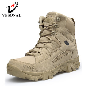 VESONAL Autumn military Boots Men Special Force Tactical Desert Combat Snow Shoes outdoor Male tracking mens tactical Boot work 201019