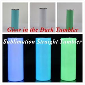 Brillo de la sublimación brillo en el tambor oscuro 20 oz recto glacial vaso con pintura luminosa taza luminosa taza de viaje de la magia