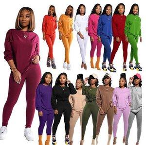 15 الألوان المرأة رياضية خريف وشتاء كم بلوزات طويلة سترة سروال اللباس اثنين من قطعة مجموعة تتسابق الصلبة بدلة رياضية E101506