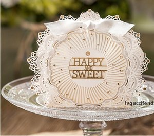 2017 New Style Wedding Candy Caixa FELIZ E DOCE Laser casamento Cut Favor Boxes Casamento favores do casamento Presentes