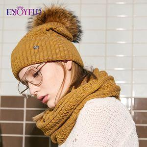 ENJOYFUR Fashion Winter Hat And Scarf Set Women Cashmere Hat Scarf Female Thick Warm Fur Pompom Knitted Hats Lady Warps 201021