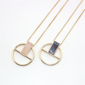 XQ 2020 free shipping The new fashion Circular pendant necklace Natural stone rectangle personality necklace