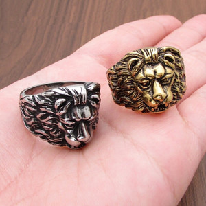 Luxury designer jewelry Mens Rings Gold Lion Head Hip Hop rings for women silver stainless steel fashion Jewelry Punk style Hot Sale