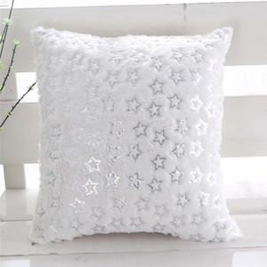 Bronzing Stars Plush Cushion Cover Soft Comfortable Home Office Sofa Chair Back Cushion Cover Square Plush Pillowcase