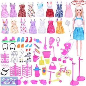 EMT BDL1 29cm Doll 114 Accessories, 16 Fashion Short Skirts, Multi Shoes, Earrings, Glasses,Trolleys, Christmas Kid Birthday Girl Gift, 2-2