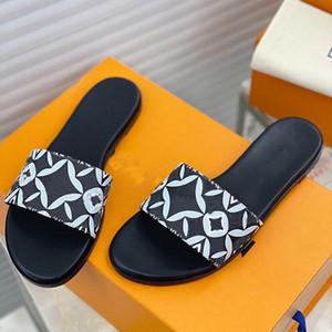 2021 Moda Moda Mujeres Flip-Floops Superstar Impresas Impresas De Cuero Real Sandalias Planas Mujeres Classic Casual Zapatos De Arena Slippers Presentación