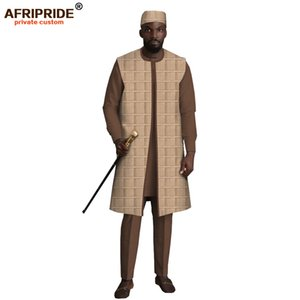 Men`s Casual Dashiki Print Ankara Hat + Coat + Shirt + Pant 4 Piece Set Suit Tribal Outfits Track Suit AFRIPRIDE A004 1004