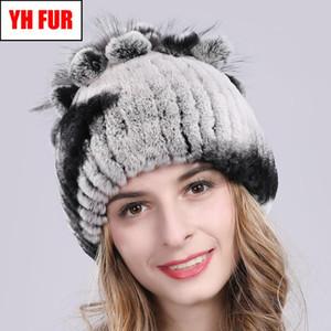 2020 Russia Hot Sale Winter Real Fur Beanies Hat Women 100% Genuine Real Rex Hat Good Elastic Knitted Rex Fur Caps