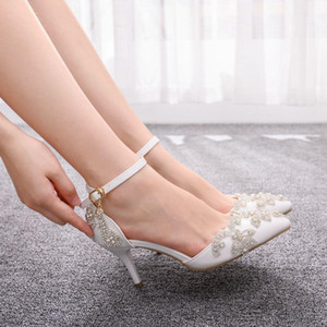 Crystal Queen Wedding Shoes Bride 7cm Heels Crystal White Pumps Christmas Day Evening Party Luxury Sandals Heel Plus Size 43 201007
