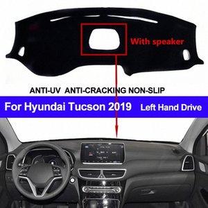 Tableau de bord de voiture couverture pour Tucson 2019 avec haut-parleur antipoussière Dashmat Pad LHD Tableau de bord Tapis Couverture Dash Mat Sun Shade Gyax #