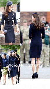 Wholesale-New Women Long Wool Coats Kate Middleton Double Breasted Trench Coat Celebrity Style Autumn Winter Outerwear