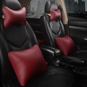 new all artificial leather car neck pillows comfortable universal single pcs headrest fit for most cars fills fiber