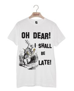 BATCH1 ALICE OH DEAR, JE SERAI TARD LAPIN BLANC UNISEX T-SHIRT T-shirts drôle Tops T New Tops unisexe SAVANA