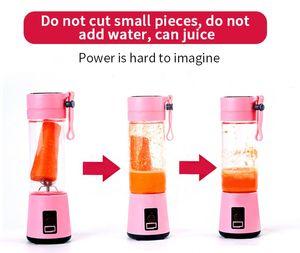 Portable Fruit Juicer 380ml 6 Blades Portable Electric Home USB Rechargeable Smoothie Maker Blenders Machine Bottle Juicing Cup DDE2218