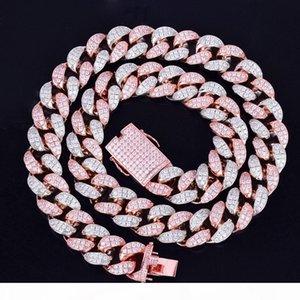 "20mm Heavy Silver Rose Colorful Zircon Miami Men's Cuban Necklace Choker Hip hop Jewelry Big CUBAN Chain 16"" 18"" 20"""