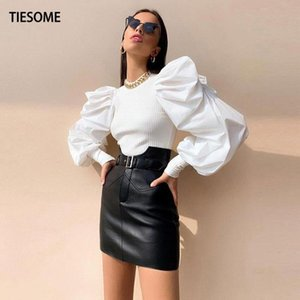 Kadın Bluzlar Gömlek Tiesome Fener Kol Üst Kadınlar Katı Bluz 2021 Yaz Sonbahar Seksi Ince Mahsul Kadın High Street Ofis Bayan